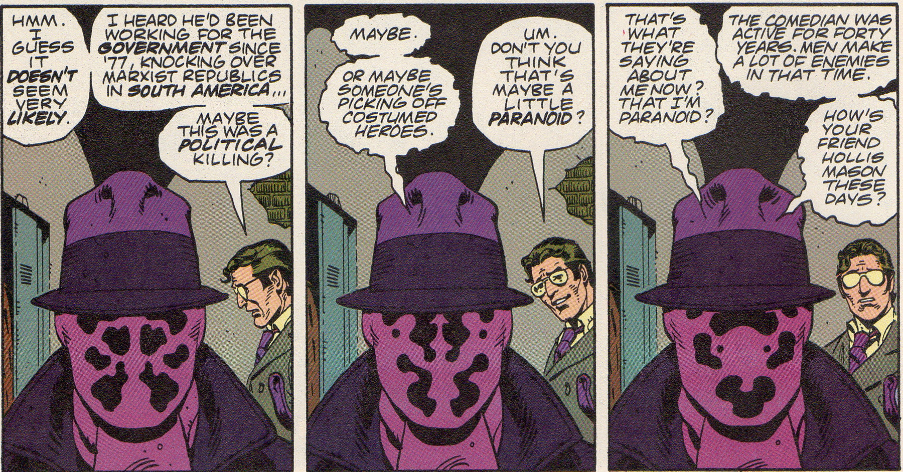 rorschach investigates the murder of the comedian in watchmen #1